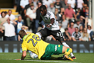 Fulham Forward Aboubakar Kamara  ® goes past Norwich City Defender Marcel Franke (L).  EFL Skybet football league championship match, Fulham  v Norwich city at Craven Cottage in London on Saturday 5th August 2017.<br /> pic by Steffan Bowen, Andrew Orchard sports photography.