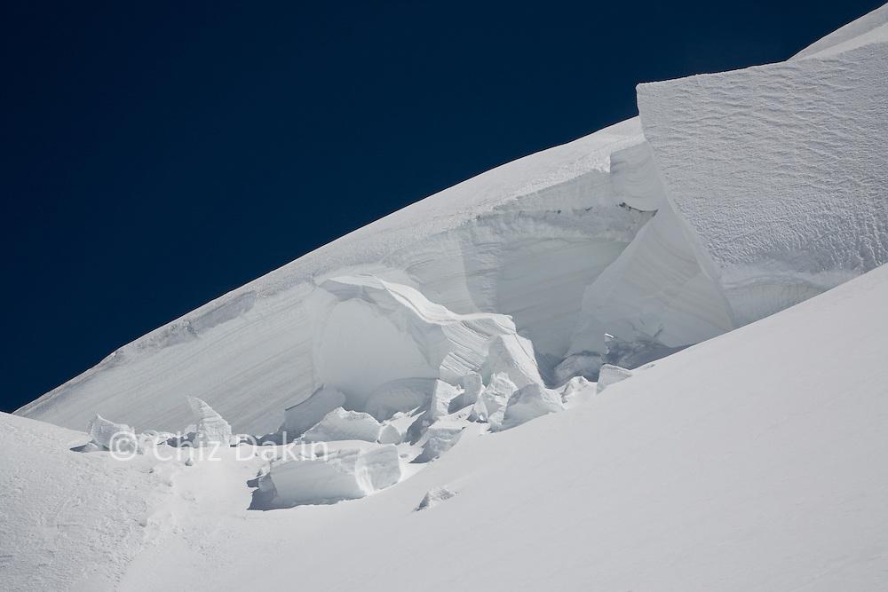 Seracs against deep blue sky, Upper Grenzgletscher, Monte Rosa, Italy