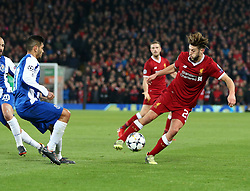 March 6, 2018 - Liverpool, U.S. - 6th March 2018, Anfield, Liverpool, England; UEFA Champions League football, round of 16, 2nd leg, Liverpool versus FC Porto; Adam Lallana of Liverpool runs at the Porto defense during the first half  (Photo by Dave Blunsden/Actionplus/Icon Sportswire) ****NO AGENTS---NORTH AND SOUTH AMERICA SALES ONLY****NO AGENTS---NORTH AND SOUTH AMERICA SALES ONLY* (Credit Image: © Dave Blunsden/Icon SMI via ZUMA Press)