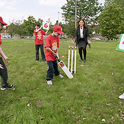 The NIJS Pupils take to the crease during the lunch break during their day out at the NPOWER Lions Den