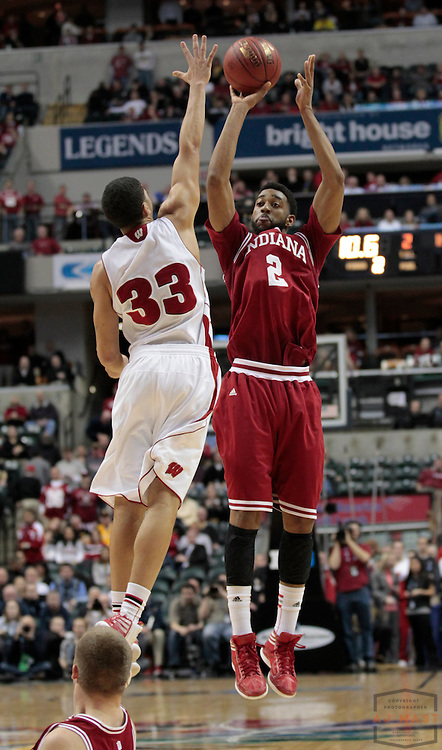 09 March 2012: Indiana Forward Christian Watford (2)  as the Indiana Hoosiers played the Wisconsin Badgers in a college basketball game during the Big 10 Men's Basketball Championship in Indianapolis