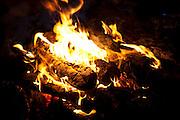 A wood fire inside a Sami lavvu, a traditional, temporary tent, in Kirkeness, Finnmark region, northern Norway