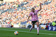 Claire Emslie (#18) of Scotland controls the ball on the wing during the International Friendly match between Scotland Women and Jamaica Women at Hampden Park, Glasgow, United Kingdom on 28 May 2019.