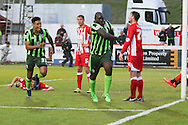 Bayo Akinfenwa forward for AFC Wimbledon (10) equalises on the night t o make it 2-1 on aggregate during the Sky Bet League 2 play-off 2nd leg match between Accrington Stanley and AFC Wimbledon at the Fraser Eagle Stadium, Accrington, England on 18 May 2016. Photo by Stuart Butcher.
