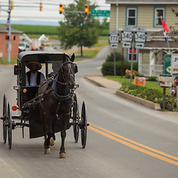 Intercourse, PA, USA - June 17, 2012: Amish buggy in Intercourse, PA.