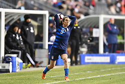 February 27, 2019 - Chester, PA, U.S. - CHESTER, PA - FEBRUARY 27: US Defender Kelly O'Hara (5) makes a throw-in pass in the first half during the She Believes Cup game between Japan and the United States on February 27, 2019 at Talen Energy Stadium in Chester, PA. (Photo by Kyle Ross/Icon Sportswire) (Credit Image: © Kyle Ross/Icon SMI via ZUMA Press)