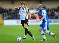 Bristol Rovers' Lee Mansell is challenged by Chester's Gareth Roberts - Photo mandatory by-line: Neil Brookman/JMP - Mobile: 07966 386802 - 22/11/2014 - Sport - Football - Chester - Deva Stadium - Chester v Bristol Rovers - Vanarama Football Conference