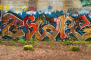 """Street art painting in old mill building in Vernonia, Oregon forms the word """"Escape"""""""