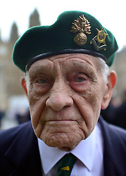 © Licensed to London News Pictures. 18/10/2012. Westminster, UK Corporal Sid Gibbons, 92, who served in Burma for the regiment. Members past and present from the 2nd Battalion of The Royal Regiment of Fusiliers march on Parliament today 18 October 2012 to hear a debate in the House on the future of their regiment. The regiment's existence is threatened by the governments plans to reduce the armed forces by 20,000 personel. Photo credit : Stephen Simpson/LNP