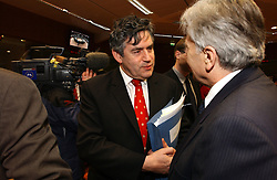 BRUSSELS, BELGIUM - MARCH-08-2005 - Gordon Brown, the UK's finance minister, left, speaks with Jeane-Claude Trichet, president of the European Central Bank, during the ECOFIN conference, a meeting of  European Union finance and economic ministers, in Brussels.