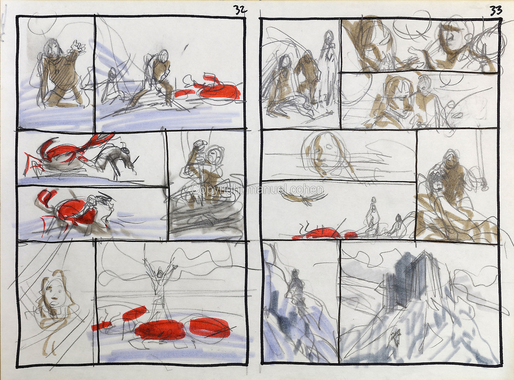 Storyboard sketch of pages 32 and 33 of the trials of Thorgal from Series 29 Le Sacrifice, 2006, of the Thorgal comic book series, illlustrated by Grzegorz Rosinski, 1941-, Polish comic book artist. This is the first series involving paintings by the artist. Rosinski was born in Stalowa Wola, Poland, and now lives in Switzerland, and is the author and designer of many Polish comic book series. He created Thorgal with Belgian writer Jean Van Hamme. The series was first published in Tintin in 1977 and has been published by Le Lombard since 1980. The stories cover Norse mythology, Atlantean fantasy, science fiction, horror and adventure genres. In Le Sacrifice, Thorgal dies, and can only be saved by Manthor, King of Entremonde. Jolan helps Thorgal reach Manthor. Picture by Manuel Cohen / Further clearances requested, please contact us and/or visit www.lelombard.com