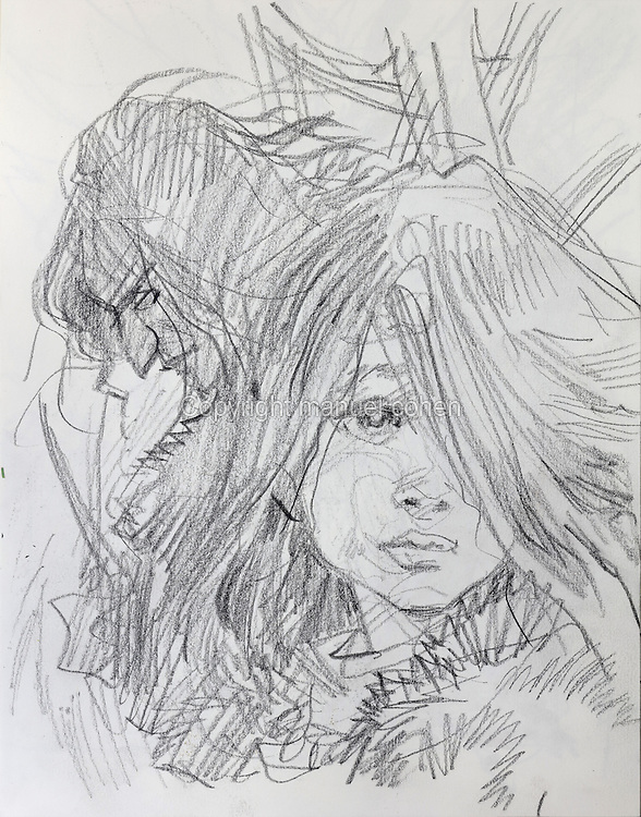 Pencil sketch of Louve, daughter of Thorgal, with menacing head behind, from a sketchbook used for developing characters, used since 2000, by Grzegorz Rosinski, 1941-, Polish comic book artist. Rosinski was born in Stalowa Wola, Poland, and now lives in Switzerland, and is the author and designer of many Polish comic book series. He created Thorgal with Belgian writer Jean Van Hamme. The series was first published in Tintin in 1977 and has been published by Le Lombard since 1980. The stories cover Norse mythology, Atlantean fantasy, science fiction, horror and adventure genres. Picture by Manuel Cohen / Further clearances requested, please contact us and/or visit www.lelombard.com