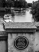 Maidenhead, United Kingdom. Blue Plaque, stateing Richard DIMBLEBY., lived on the Island, fixed to the road bridge over the loch on to the Island, Raymill Island River Thames between Boulters lock <br /> <br /> <br /> Wednesday  23/08/2017<br /> <br /> [Mandatory Credit: www.odd-stock.com]<br /> <br /> LEICA DIGILUX 2. ISO 100  f2.1  Lens 15.7mm