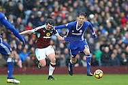 Nemanja Matic of Chelsea is held back by Joey Barton of Burnley. Premier league match, Burnley v Chelsea at Turf Moor in Burnley, Lancs on Sunday 12th February 2017.<br /> pic by Chris Stading, Andrew Orchard Sports Photography.