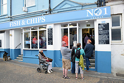 No 1 Cromer fish & chips, Norfolk seaside, UK. July 2019