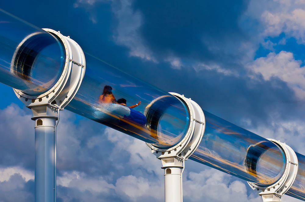"""AquaDuck water slide, aboard the cruise ship """"Disney Dream"""", Disney Cruise Line, sailing from Florida to the Bahamas"""