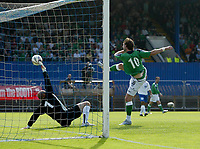 Photo: Andrew Unwin.<br />Northern Ireland v Azerbaijan. FIFA World Cup Qualifying match. 03/09/2005.<br />Northern Ireland's James Quinn (R) scores but his goal is disallowed for a foul on the goalkeeper.