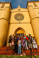 Group of Kanak (Melanesian) children, St. Pierre Baptist Church, Hnathalo, Lifou (island), Loyalty Islands, New Caledonia
