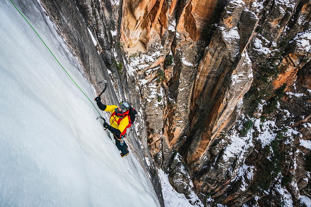 Jason Hall climbs Bo Beck WI4, Zion National Park.