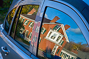 Volkswagen Beetle window reflection, October, evening light, Cheshire Mills Historic Structures, Cheshire County, Harrisburg, New Hampshire, USA