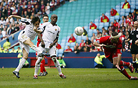 Photo: Chris Ratcliffe.<br /> Middlesbrough v West Ham United. The FA Cup, Semi-Final. 23/04/2006.<br /> Yossi Benayoun has a shot on goal for West Ham