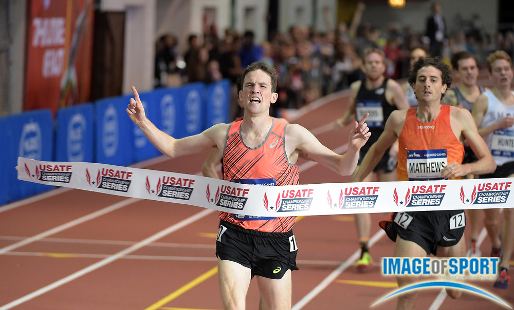 Feb 20, 2016; New York, NY, USA; Johnny Gregorek (USA) wins the mile in 3:56.57 during the 109th Millrose Games at The Armory.