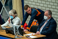 Referee and Joep van Iersel in action during the quarter cupfinal between Taurus vs. Sliedrecht Sport on April 02, 2021 in sports hall De Kruisboog, Houten