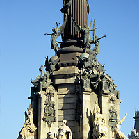 Europe, Spain, Barcelona. The base of the Columbus Monument, or Barcelona Colon.