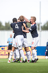 Falkirk's Jay Fulton celebrates with team mates after scoring their first goal.<br /> Falkirk 1 v 2 Hamilton, Scottish Championship 31/8/2013.<br /> ©Michael Schofield.