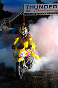Motorcycle drag racer Glen Nickleberry performing a burnout at Thunder Valley Raceway in Noble, Oklahoma