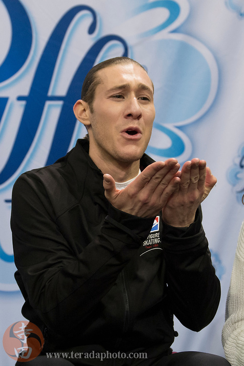 January 4, 2018; San Jose, CA, USA; Jason Brown in the kiss and cry after skating in the mens short program during the 2018 U.S. Figure Skating Championships at SAP Center.