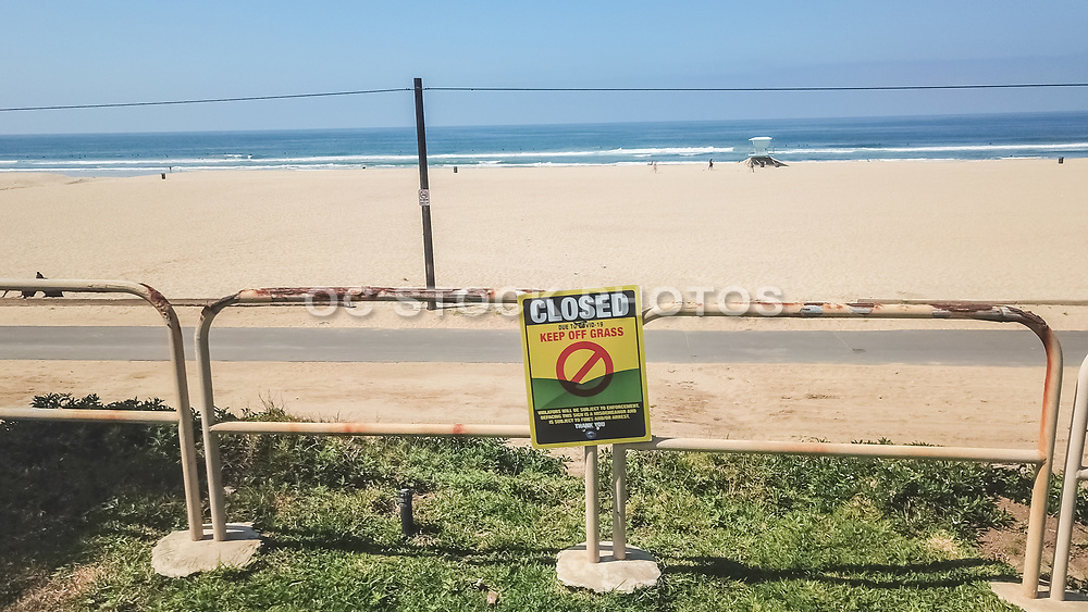 Closed Sign and Empty Beaches in Huntington Beach Due to Government Shutdown