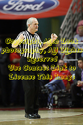12 January 2013: Referee Hal Lusk makes a blocking call to the table during an NCAA Missouri Valley Conference mens basketball game Where the Bulldogs of Drake University beat the Illinois State Redbirds 82-77 in Redbird Arena, Normal IL