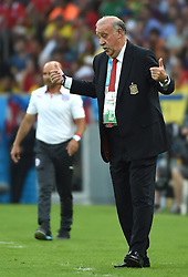 18-06-2014 BRA: World Cup Spanje - Chili, Rio Janeiro<br /> Chili wint met 2-0 van Spanje die door deze uitslag is  uitgeschakeld / Spain's coach Vicente del Bosque reacts to Chile's goal <br /> <br /> *** NETHERLANDS ONLY ***