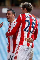 Stoke Defender Geoff Cameron (USA) celebrateswith Forward Peter Crouch (ENG) after scoring a goal - Photo mandatory by-line: Rogan Thomson/JMP - 07966 386802 - 23/03/2014 - SPORT - FOOTBALL - Villa Park, Birmingham - Aston Villa v Stoke City - Barclays Premier League.