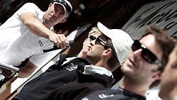 Christian Scherrer, President St Moritz Match Race organisation committee with the semi final skippers. St Moritz Match Race 2010. World Match Racing Tour. St Moritz, Switzerland. 5th September 2010. Photo: Ian Roman/WMRT.