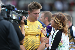 Josh Adams of Worcester Warriors is interviewed by BT Sport - Mandatory by-line: Robbie Stephenson/JMP - 30/07/2016 - RUGBY - Kingston Park - Newcastle, England - Worcester Warriors v Newcastle Falcons - Singha Premiership 7s