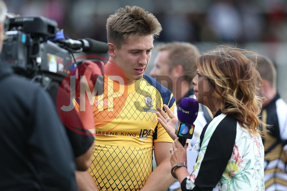 Josh Adams of Worcester Warriors is interviewed by BT Sport - Mandatory by-line: Robbie Stephenson/JMP - 30/07/2016 - RUGBY - Kingston Park - Newcastle, England - Worcester Warriors v Newcastle Falcons - Singha Premiership 7s