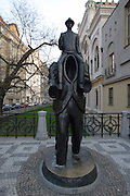 Kafka staute in the Jewish Quarter of Prague, Czech Republic. The statue by sculptor Jaroslav Rona was unveiled in 2003.