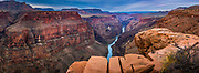 """Grand Canyon from Toroweap Point<br /> .....<br /> The Grand Canyon is a steep-sided canyon carved by the Colorado River in the state of Arizona in the United States. It is contained within and managed by Grand Canyon National Park, the Hualapai Tribal Nation, the Havasupai Tribe and the Navajo Nation. President Theodore Roosevelt was a major proponent of preservation of the Grand Canyon area, and visited it on numerous occasions to hunt and enjoy the scenery.<br /> The Grand Canyon is 277 miles long, up to 18 miles wide and attains a depth of over a mile. Nearly two billion years of Earth's geological history have been exposed as the Colorado River and its tributaries cut their channels through layer after layer of rock while the Colorado Plateau was uplifted. While the specific geologic processes and timing that formed the Grand Canyon are the subject of debate by geologists, recent evidence suggests that the Colorado River established its course through the canyon at least 17 million years ago. Since that time, the Colorado River continued to erode and form the canyon to its present-day configuration.<br /> For thousands of years, the area has been continuously inhabited by Native Americans who built settlements within the canyon and its many caves. The Pueblo people considered the Grand Canyon (""""Ongtupqa"""" in the Hopi language) a holy site, and made pilgrimages to it. The first European known to have viewed the Grand Canyon was García López de Cárdenas from Spain, who arrived in 1540."""