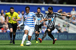 Newcastle United's Ayoze Perez closes down Queens Park Rangers' Leroy Fer - Photo mandatory by-line: Dougie Allward/JMP - Mobile: 07966 386802 - 16/05/2015 - SPORT - football - London - Loftus Road - QPR v Newcastle United - Barclays Premier League