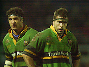 Northampton, England, Franklin's Gardens 07.12.2002. <br /> Heineken European Cup - Franklin Gardens - Northampton vs Cardiff<br /> Andrew Blowers left and Budge Pountney.      [Mandatory Credit:Peter SPURRIER/Intersport Images]