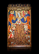 Gothic Catalan altarpiece depicting the Madonna of Mercy by Bonant Zaortiga, circa 1430-1440, tempera and gold leaf on wood, from the church of Mare de Dieu de Carrasca , Blancas, Terol, Spain. Against a black background. <br /> Bonnat Zaortiga was one of the most prominent representatives of the international Gothic. The Mother of God of Mercy  protects humans with her cape, symbolizing one of the most feared evils of the European Middle Ages, plague, often understood as a punishment for the sins of mankind. This was the central panel of the altarpiece of the church of the Mother of God. National Museum of Catalan Art, Barcelona, Spain, inv no: MNAC 3945. . .<br /> <br /> If you prefer you can also buy from our ALAMY PHOTO LIBRARY  Collection visit : https://www.alamy.com/portfolio/paul-williams-funkystock/gothic-art-antiquities.html  Type -     MANAC    - into the LOWER SEARCH WITHIN GALLERY box. Refine search by adding background colour, place, museum etc<br /> <br /> Visit our MEDIEVAL GOTHIC ART PHOTO COLLECTIONS for more   photos  to download or buy as prints https://funkystock.photoshelter.com/gallery-collection/Medieval-Gothic-Art-Antiquities-Historic-Sites-Pictures-Images-of/C0000gZ8POl_DCqE