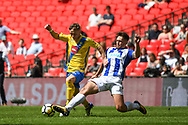 Kevin Hayes of Stockton Town (7) and Tom Moran of Thatcham Town (6) battle for the ball during the FA Vase match between Stockton Town and Thatcham Town at Wembley Stadium, London, England on 20 May 2018. Picture by Stephen Wright