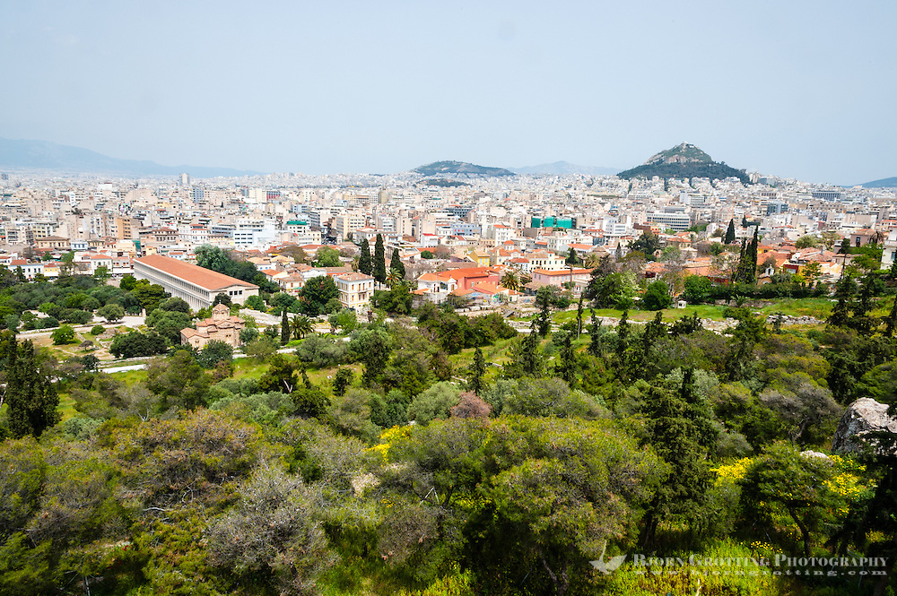 Athens, Greece. View from Areopagus below the Acropolis.  With the Stoa of Attalos and Mount Lycabettus.