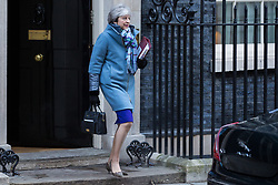 London, UK. 30th January, 2019. Prime Minister Theresa May leaves 10 Downing Street to attend Prime Minister's Questions in the House of Commons after MPs yesterday backed her plan to renegotiate her Brexit withdrawal agreement.