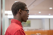 Purchase, NY – 31 October 2014. Samuel Brown, from Port Chester High School, practicing a presentation. The Business Skills Olympics was founded by the African American Men of Westchester, is sponsored and facilitated by Morgan Stanley, and is open to high school teams in Westchester County.
