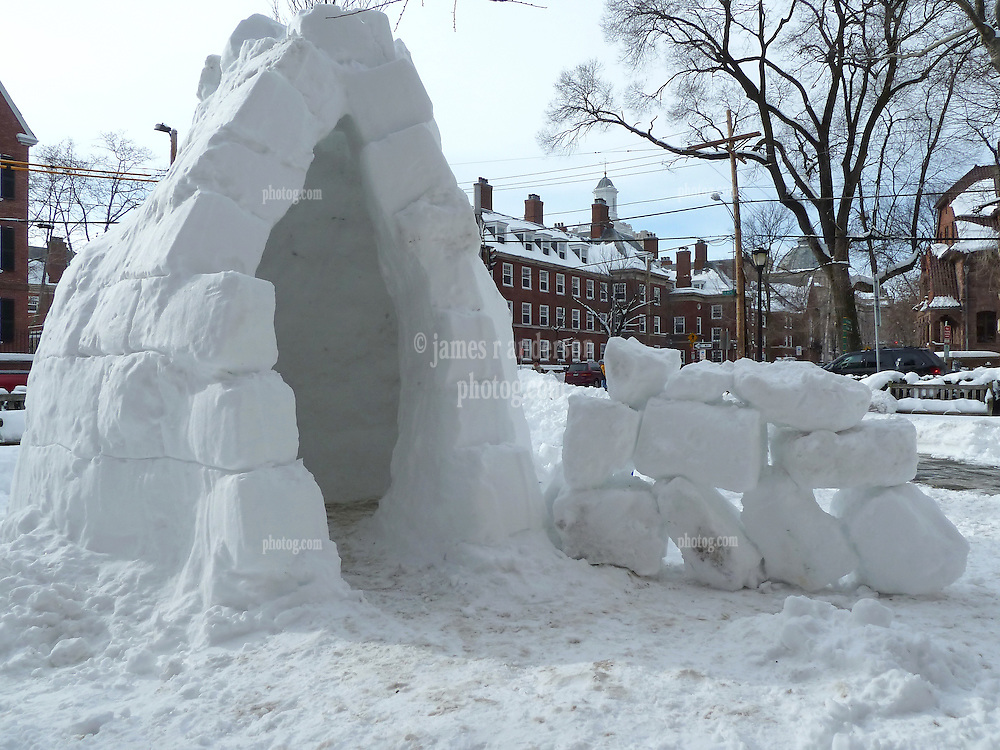 Igloo in front of Rosenfeld Hall, Yale University. Snow Scene at the corner Temple and Grove Street, New Haven, CT