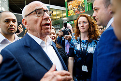 © Licensed to London News Pictures. 14/06/2017. London, UK. Owner of News Corp UK, RUPERT MURDOCH and CEO of News Corp UK REBEKAH BROOKS attend the reopening of Borough Market in London as it reopens on 14 June 2017, following a terror attack that killed 8 people over a week ago. Photo credit: Tolga Akmen/LNP