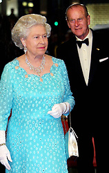 26/11/2001. Queen Elizabeth II and the Duke of Edinburgh arrive for the Royal Variety Performance, at the Dominion Theatre in London. The Royal couple will celebrate their platinum wedding anniversary on November 20.